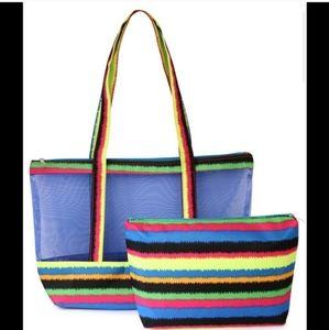 Two bag beach tote set blue/multi striped mesh